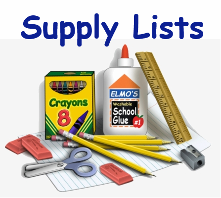 """Image of assorted school supplies and the words """"Supply Lists"""""""